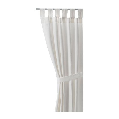 Ikea LENDA Pair of curtains with tie-backs, white (bleached) 2 Panels, 55