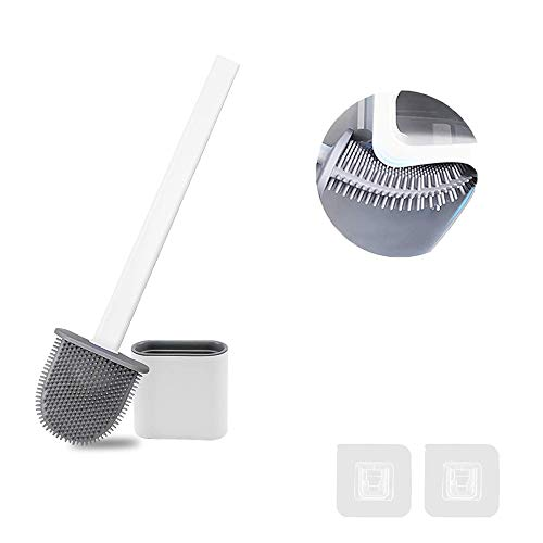 FAFAFA Escobilla WC,Cepillo y Soporte para Inodoro de Silicona,Escobillas de Baño,Escobilla WC Silicona,Cepillo para Inodoro (Blanco)