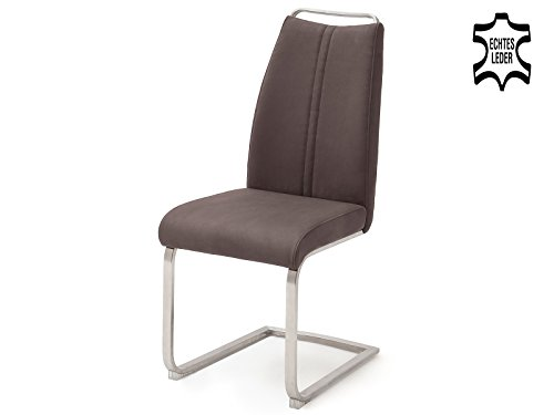 möbelando Schwingstuhl Esszimmerstuhl Küchenstuhl Stuhl Echtleder Giulia III (2-er Set) Braun