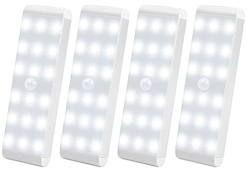 Under Cabinet Lights, 18-LED Motion Sensor Light USB Rechargeable Cupboard Light Dimmable&Wireless Closet Light with Removable Magnetic Strip for Wardrobe Kitchen Stairs (Cold White)