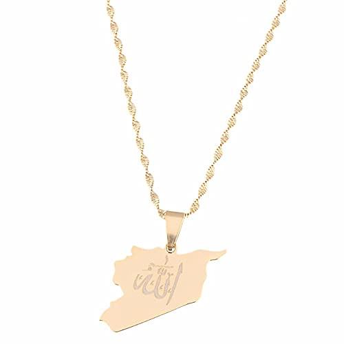 Colgante de acero inoxidable de Siria con nombre de Alá, color dorado, mapas sirios, collar, joyería, regalos