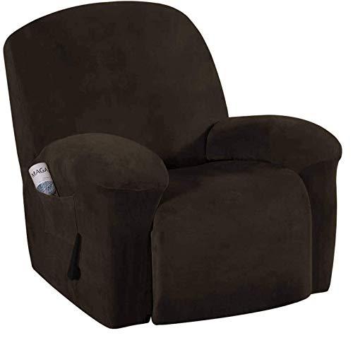 BANNAB Funda de sofá reclinable, Funda de sofá elástica de Terciopelo, Funda de sofá Suave, Fundas Antideslizantes, Protector de Muebles para niños, Mascotas, marrón