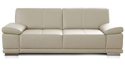 CAVADORE 2,5-Sitzer Sofa Corianne / Kleine Echtleder-Couch im modernen Design / Mit Armteilverstellung / 192 x 80 x 99 / Echtleder weiß