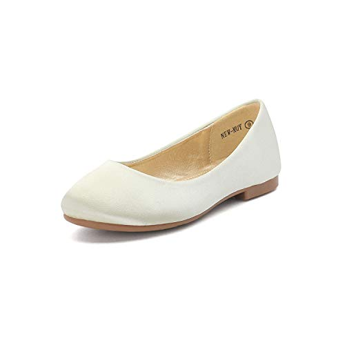 DREAM PAIRS Little Kid Muy Ivory Satin Girl's Mary Jane Ballerina Flat Shoes - 2 M US Little Kid