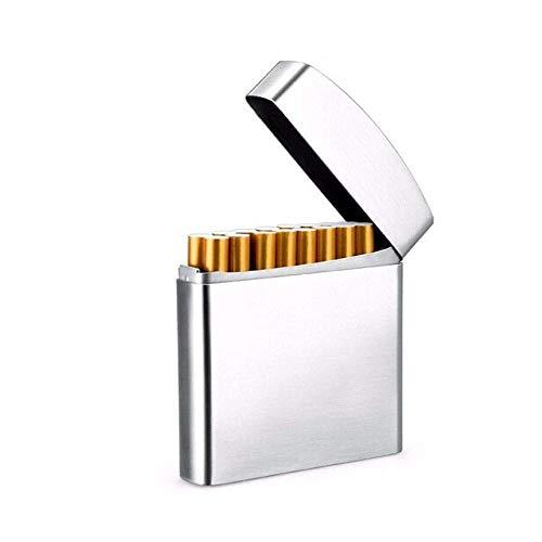 Étui de cigarette humidificatrice de cigare 20 paquets, étui de cigarette portatif en acier inoxydable créatif, argent, chaud et dodue (couleur: argent, taille: 9.3 8.2 1.7cm) FDWFN