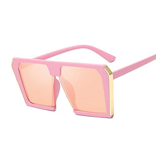 ZHATAOZH Fashion Square Gafas de Sol Mujeres de Lujo Marca de Lujo Grandes Gafas de Sol Negro Hombre Espejo Sombras Damas Sol para pequeñas Caras Protección UV Baratas Hombres (Lenses Color : Pink)