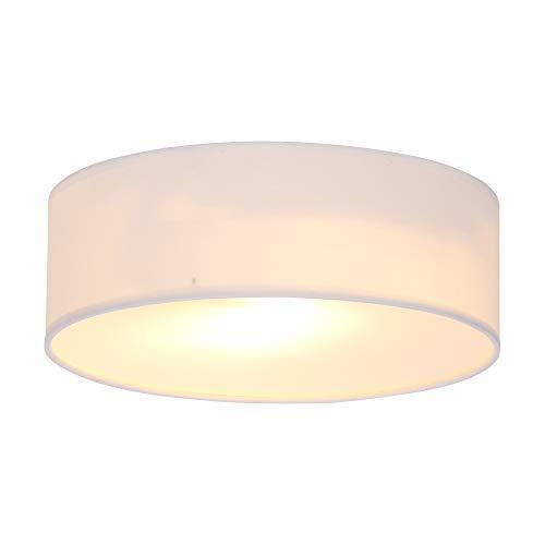 UNISOPH Luz de techo, luz de techo de tela redonda Diámetro de la pantalla 30 cm Altura 10 cm Adecuado para estudio, sala de estar, dormitorio y otros lugares, blanco