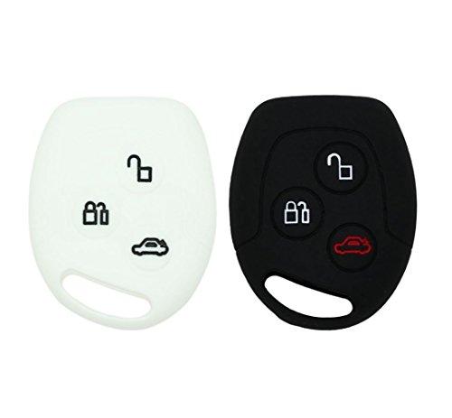 YLC 2 Piezas Silicona Funda para Llave de Coche Car Key Cover para Ford Mondeo Festiva Fiesta Focus 3 Botones(Negro + Blanco)