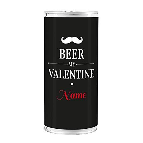 Lustapotheke® 1 l Bierdose Premium Lager - Beer my Valentine - mit Namensaufdruck - das Biergeschenk zum Valentinstag
