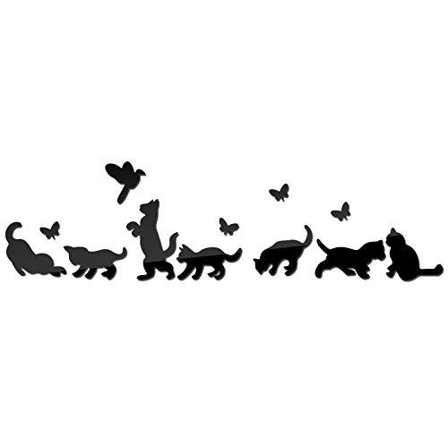 BLOUR DIY Pegatinas de Pared decoración del hogar de Dibujos Animados acrílico Espejo Muebles Pegatinas Sala de Estar Gato sofá Fondo