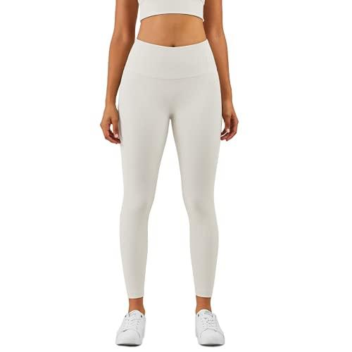 QTJY Leggings Desnudos Deportivos para Mujer Pantalones de Yoga Acanalados elásticos sin Costura Frontal Pantalones de Entrenamiento en Cuclillas para Ejercicios E XL