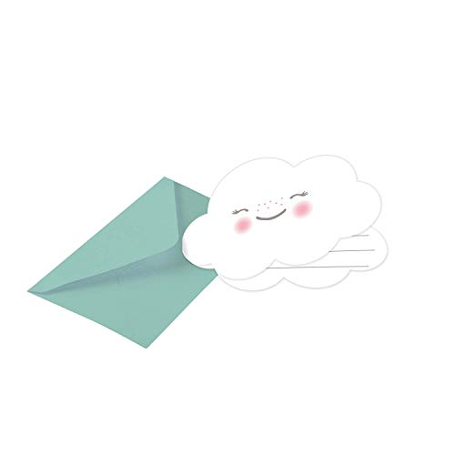 Amscan 9904309 - Einladungskarten Regenbogen, 8 Stück, Größe 8,6 x 12,5 cm, Karten mit grünen Umschlägen, lächelnde Wolke, Gesicht, Einladung, Geburtstag, Kinderparty, Mottoparty, Rainbow