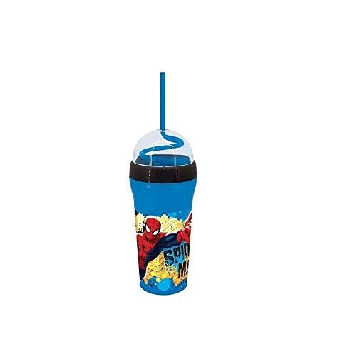 takestop® Bicchiere Borraccia Cannuccia A Spirale Spiderman Uomo Ragno in PLASTICA Marvel Acqua Bevande Succo SUCCHI Bambino Bimbo Bambini Idea Regalo