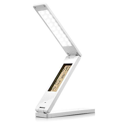 Saxonia Schreibtischlampe LED Tischlampe Bürolampe dimmbar mit Uhrzeit Kalender, Wecker Weiß