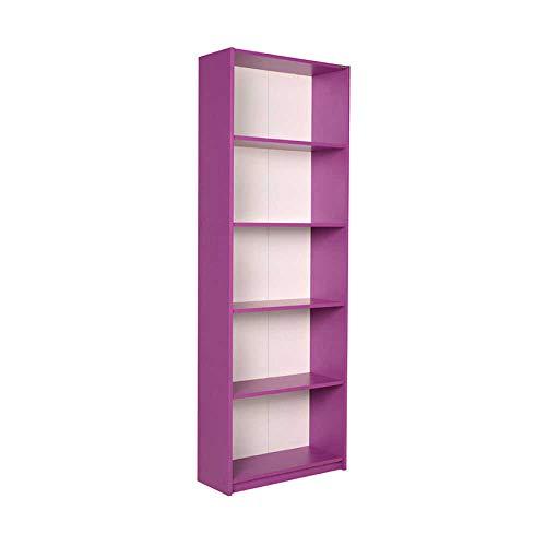 Adore Furniture Estantería para niños de 5 niveles de alto, grande, colorido, 182 cm, color morado brillante, moderno mueble de almacenamiento para oficina, sala de estar
