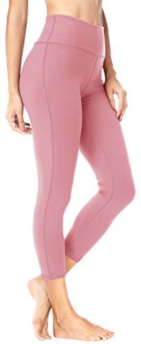 QUEENIEKE Damen 22' Yoga Capris Power Flex Mittlere Taille Hosen Laufhose Training Laufende Leggings Farbe Blasses Rosa Größe XS(0/2)