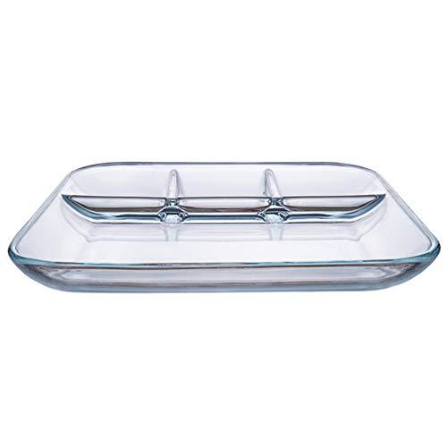 UPKOCH Geteilte Serviertablett Glas Essen Teller für Pommes Und Dip Gemüse Snack