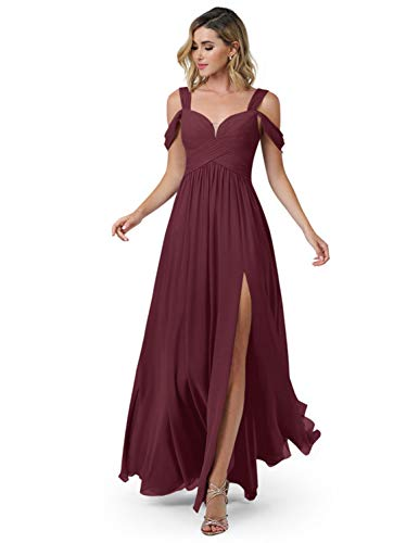 HedyDress Off Shoulder Bridesmaid Dresses Simple Long Slit A-Line Formal Dresses for Women 2021 Mulberry Size 4