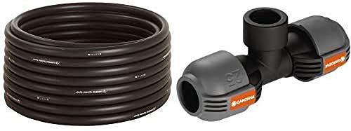 """GARDENA Sprinklersystem Verlegerohr, 50 m-Rolle & Sprinklersystem T-Stück mit Gewinde, 25 mm x 3/4""""- Innengewinde, Quick&Easy Verbindungstechnik, selbstdichtende Gewindeverbindung"""