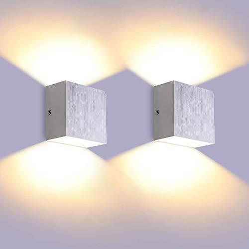 Glighone LED Wandleuchte, 2 Stück 6W Innenwandleuchte Wandleuchten Up Down, 3000K warmweiß 600LM Wandlampe LED Wandleuchte Innen Silber gebürstet Modern Design