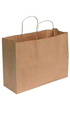"SSWBasics Kraft Paper Shopping Bag - Large (16""L x 6""D x 12 ½""H) - Case of 100"