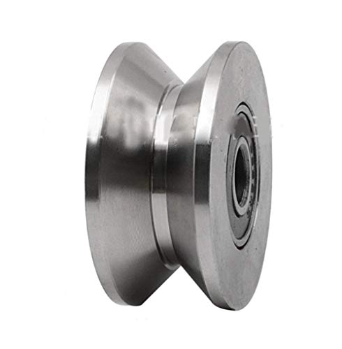 Chiloskit - Rueda de puerta de acero inoxidable 304 de 2,7 pulgadas, rodamiento de rueda de rodillos de acero inoxidable 304, guía de ranura en V, riel rígido para elevación de puerta corredera