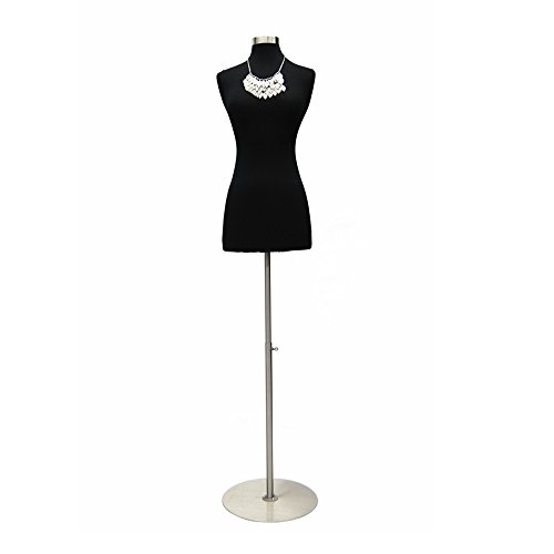 (JF-F2 4BK+BS-04) Size 2-4 Premium Black Female Fully Pinnable Mannequin Dress Form with Round Brushed Metal Base and Neck Top.