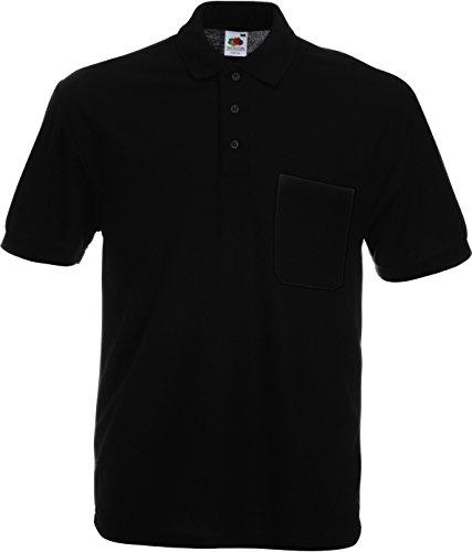 Fruit of the Loom 63–308–0–Poloshirt mit Brusttasche, Schwarz XXL