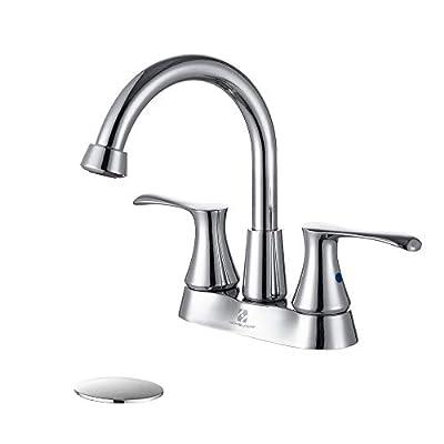 HOMELODY Bathroom Centerset Faucet Chrome, Bathroom Sink Faucet 2-handle 360° rotatable High Arc Swivel Spout Lavatory Faucet with Pop Up Drain