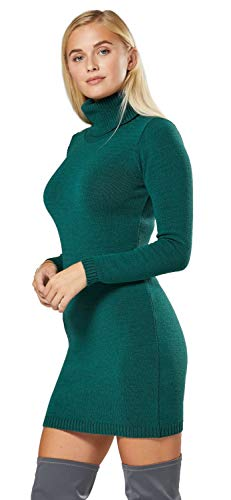 Happy Mama Damen - Umstands Stretch Strick-Kleid mit Rollkragen. 888p (Grün, 36-40, ONE Size)