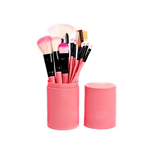 Set di pennelli da trucco professionali con custodia, per fondotinta, ombretto, eyeliner, labbra, colore: rosa, 12 pezzi