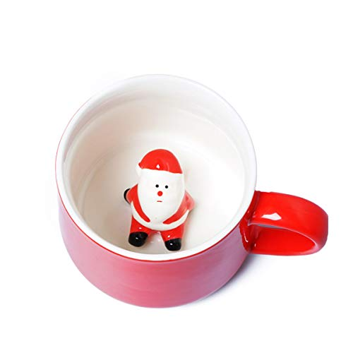 Santa Mug 3D Cute Christmas Coffee Mug with Santa Claus,Cartoon Handmade Ceramics Teacup,Christmas Birthday Gift for Friends Family or Kids,Best Office Cups Couple Mugs