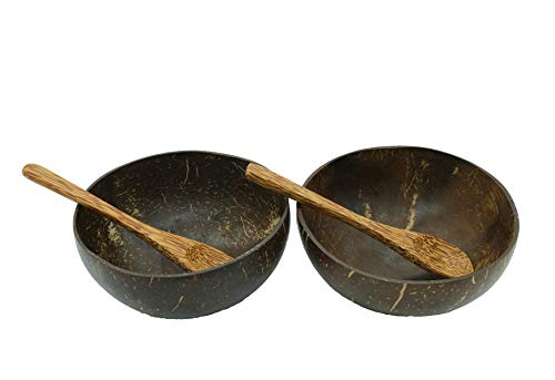 Natural Craft Coconut Bowls and Spoons Set of 2 - Polished with Coconut Oil, Durable, Lightweight, Useful, Large Wooden Serving Bowl for Salads, Breakfast, Decoration, Vegan Organic Friendly