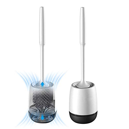 White Toilet Brush and Holder Set, Silicone Bathroom Toilet Bowl Brush Set, No Scratch Soft Toilet Cleaner Brush