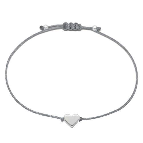 Selfmade Jewelry Herz Armband Textil Grau Silber - Handmade Armbändchen mit Herz Herzchen Armkettchen Handmade in Germany Größenverstellbar Schmuck Damen
