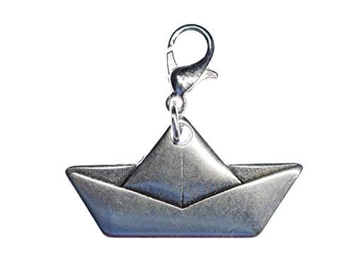 Miniblings Papierschiff Origami Segelschiff Boot Charm Schiff Segelbott Segeln - Handmade Modeschmuck I Kettenanhänger versilbert - Bettelanhänger Bettelarmband - Anhänger für Armband