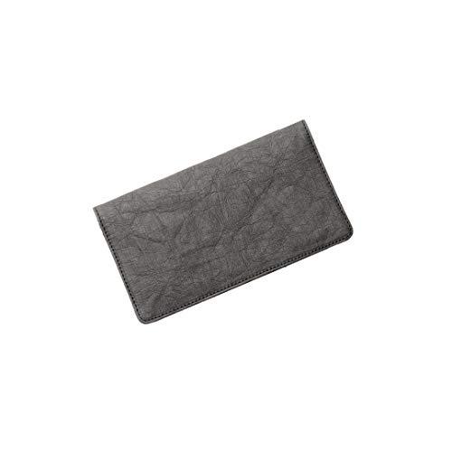 FRITZVOLD Clutch Wallet, RFID-Schutz & großes Münzfach, Ultra dünnes Damen-Portemonnaie, extrem Flacher Damen-Geldbeutel, Portmonee lang, Damen-Geldbörse aus waschbarem Papier-Kunstleder, schwarz