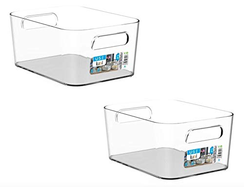 TIENDA EURASIA® Cajas de Almacenaje con Asas - Organizadores de Plástico Multiusos - Ideales para baño, cocina, salón, dormitorio (Transparente, 2 Cajas - 25,5 x 17 x 11 cm - 3,6 L)