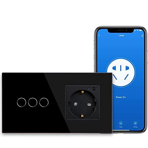 BSEED Smart Alexa Lichtschalter,WIFI Lichtschalter mit Steckdose Kompatibel mit Alexa,Google Home,Glas Touchscreen-schalter,Smart Lichtschalter 3 Fach 1 Weg Schwarz(Neutrale Leitung benötigt)