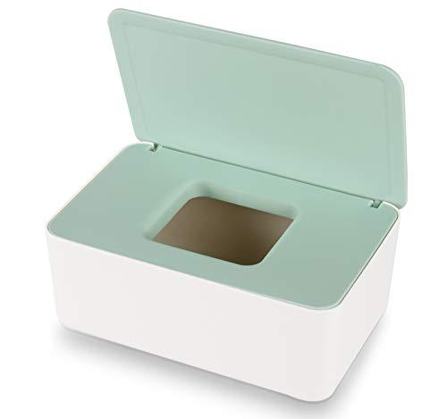 Aoligei Dispensador de toallitas, Caja de Almacenamiento de pañuelos a Prueba de Polvo, Servilletero con Tapa para el hogar y la Oficina (Verde-Blanco)