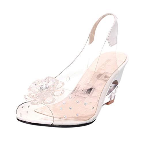 Women's Jelly Sandals,Summer Flower Rhinestone Peep Toe Roma Wedges Crystal Wedges Shoes (41, White)