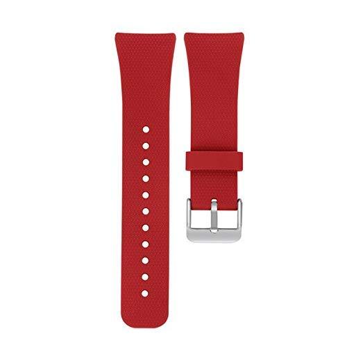 YYCHER CRESTEDsport Correa de silicona suave para Gear Fit2/Fit 2 Pro R360 R365 R366 Correa de repuesto de goma compatible con correa de reloj inteligente (color rojo)