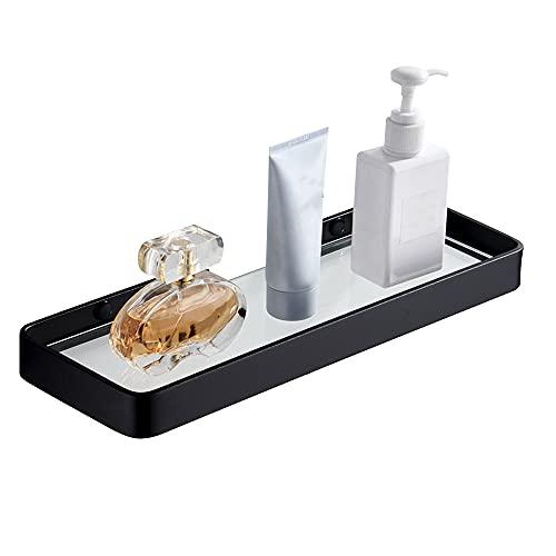 pwne Estante de baño de aluminio cuadrado ducha rack montado en la pared sacador libre de vidrio templado cesta de almacenamiento accesorios para el hogar