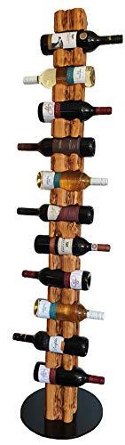 Wood & Wishes – Rustikaler Weinständer, Weinregal, Weinhalter aus Massivholz; gefertigt in Handarbeit für 11 Flaschen Wein; Höhe 158 cm Ø 34 cm; Treibholzoptik; Landhausstil; dekoratives Unikat