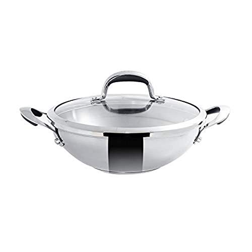 Meyer Select Stainless-Steel Covered Kadai, 1.91 Liters/22cm,...