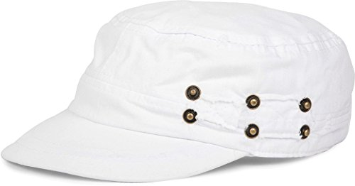 styleBREAKER Gorra Militar en Apariencia gastada, Vintage, Ajustable, Unisex 04023011, Color:Blanco