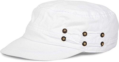 styleBREAKER Military Cap im Washed, Used Look, verstellbar 04023011, Farbe:Weiß