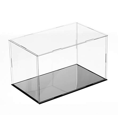 LM-Coat rack XINGLL Acrílico Vitrina Transparente, Caja Protección Prueba Polvo, para Figuras, Bloques Juguete, Artículos, Modelos, Muñecas, Coleccionables, Cubo Almacenamiento, Base Negra