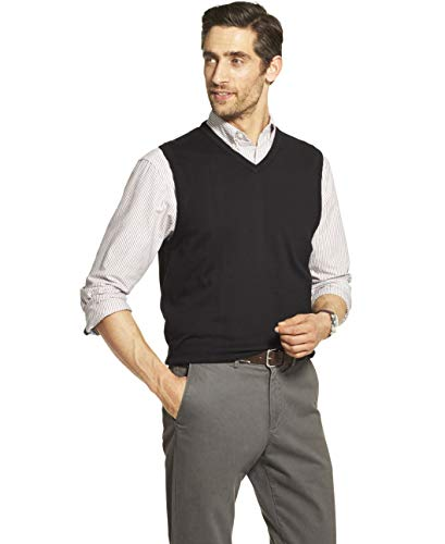 IZOD Men's Premium Essentials Solid V-Neck 12 Gauge Sweater Vest, BLACK, Medium