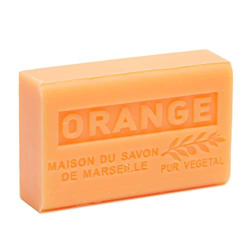 Maison du Savon de Marseille: Französische Seife mit Bio-Sheabutter, feuchtigkeitsspendend, für weiche Haut, Orangenduft, 125 g